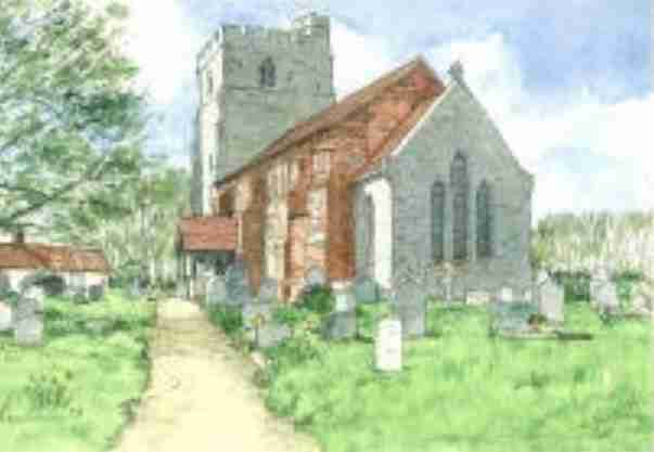 Painting of St Marys church at Peldon