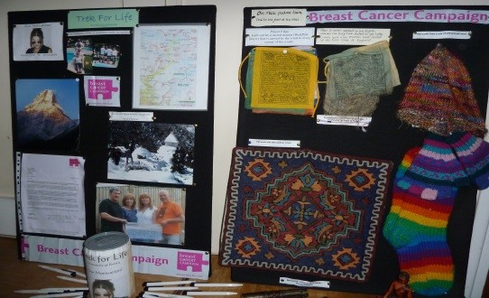 Board showing details of Tina Oldfield's daughter and items made by the Nepalese