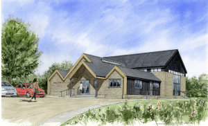 Artist's Impression of the new hall taken from the latest architectural plans. Courtesy of Steve Sharpe Graphics