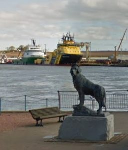 Bamse statue in Montrose Harbour